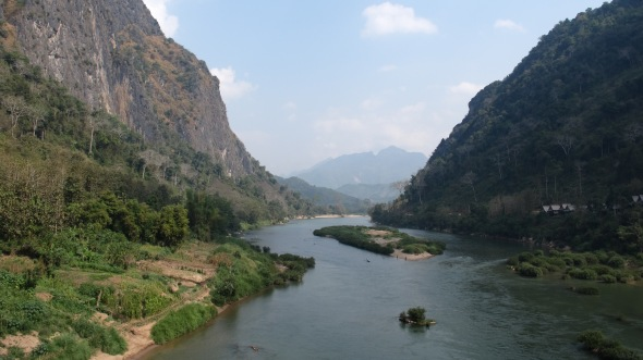 View from the other side of the bridge in Nong Khiaw